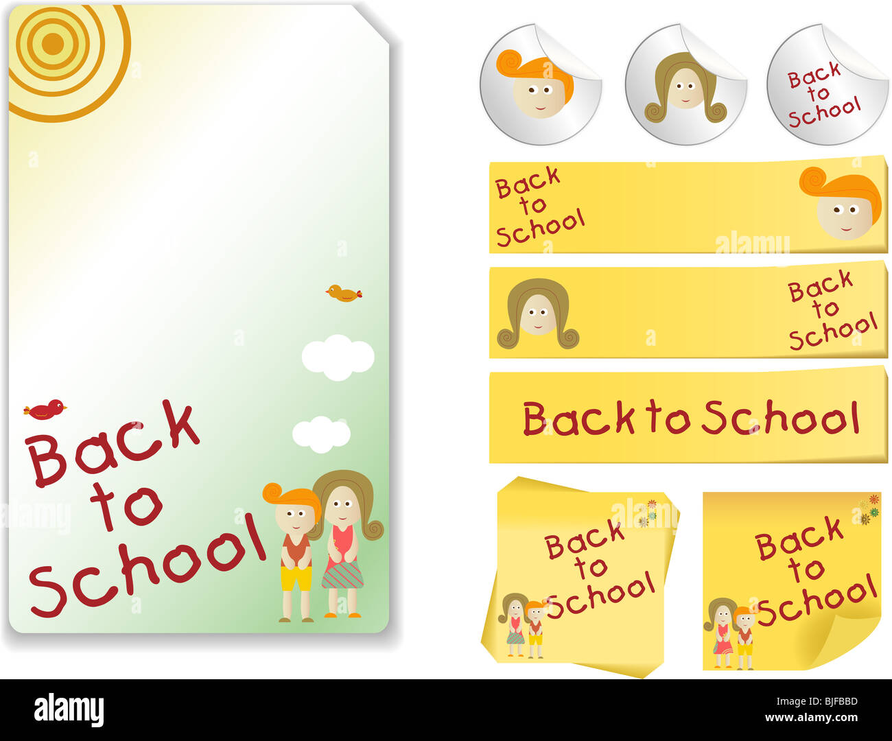Set of Back to School with note, sticker - Stock Image