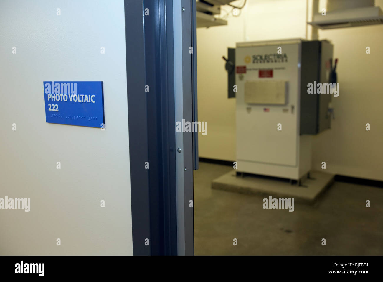 Grid-Tied Photovoltaic Inverter in Control room of Big Blue Bus Terminal, Santa Monica - Stock Image