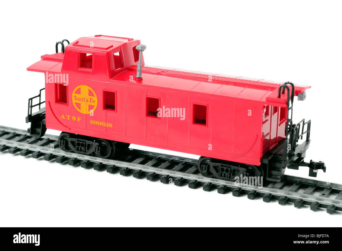 Train Scale Model Railroad Car Of A Santa Fe Caboose - Stock Image