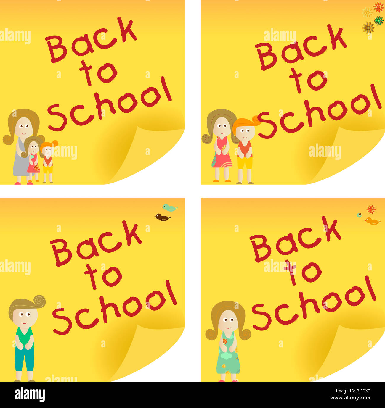 Back to School yellow sticker note. Add your message. - Stock Image