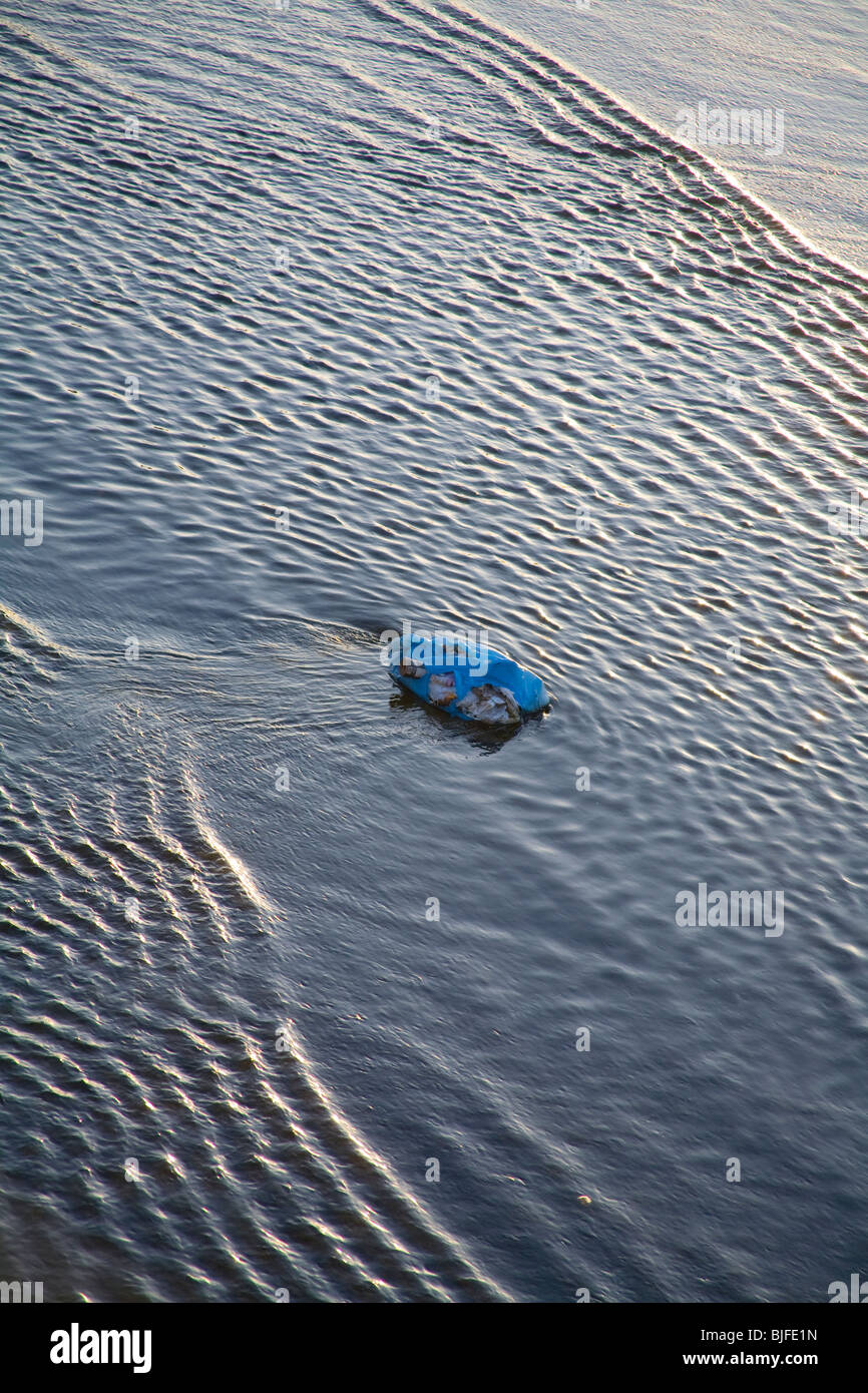Plastic trash in Los Angeles River, Bell, Los Angeles, California, USA - Stock Image