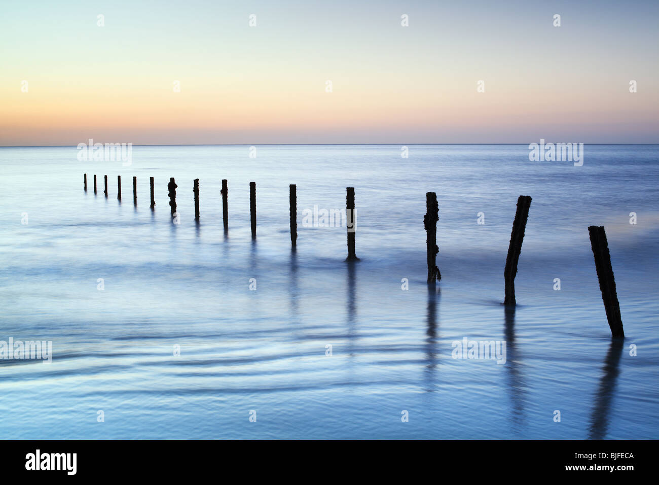 a cool winters morning at dawn on the kent coast - Stock Image