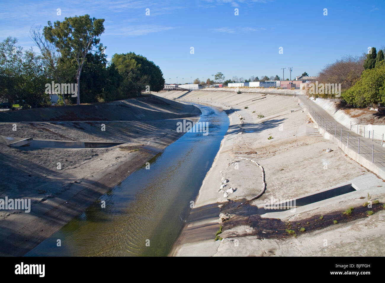 Ballona Creek is a nine-mile long flood protection channel that drains the Los Angeles basin. , Los Angeles, California, Stock Photo