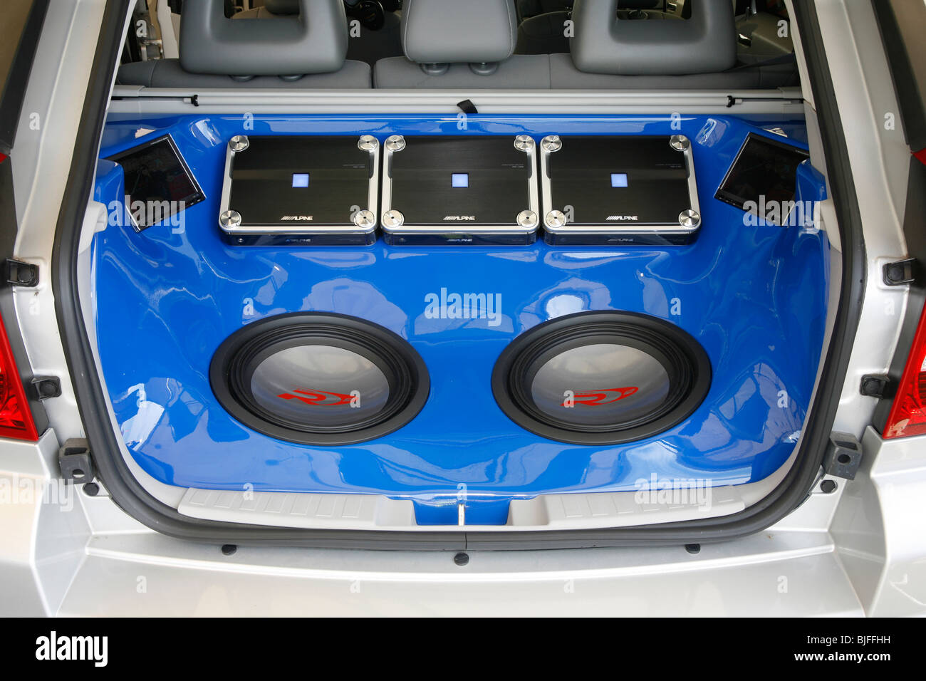 Custom Vehicle Speakers : Custom car audio system in the boot of a stock photo