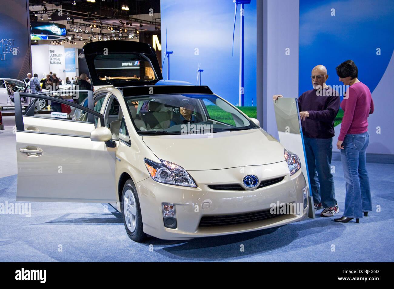 Toyota Prius. Alternative Fuel Vehicles at 2009 Los Angeles Auto Show, LA Convention Center, California, USA - Stock Image