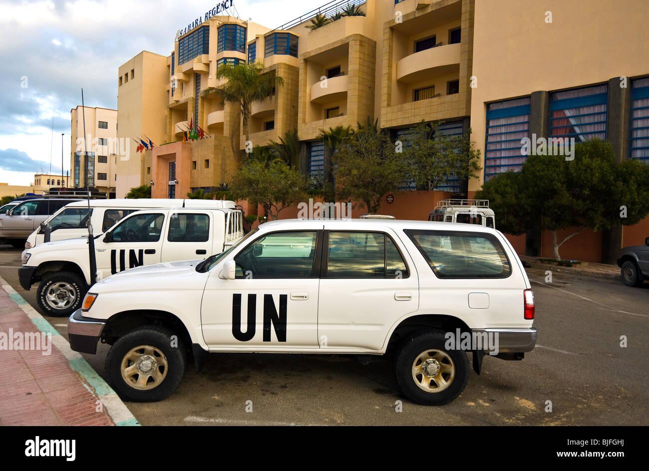 Western Sahara, Dakhla. UN vehicles, Sahara Regency Hotel. - Stock Image