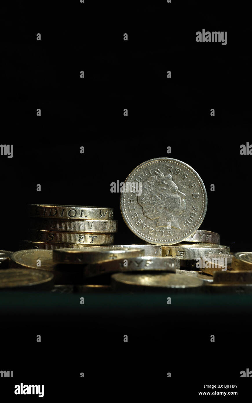 One pound coins. February 2010 - Stock Image
