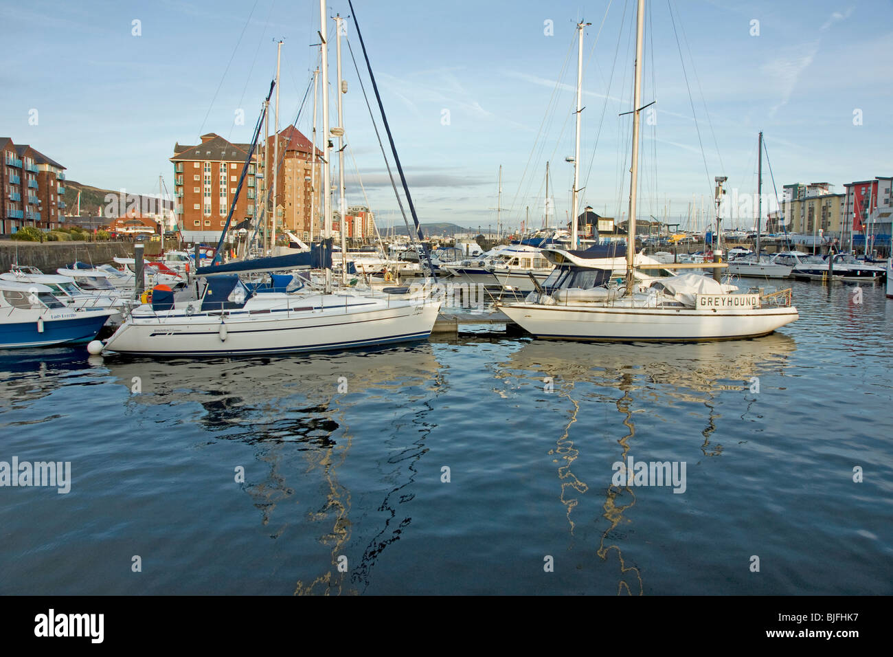 Swansea Marina in Swansea in South Wales - Stock Image