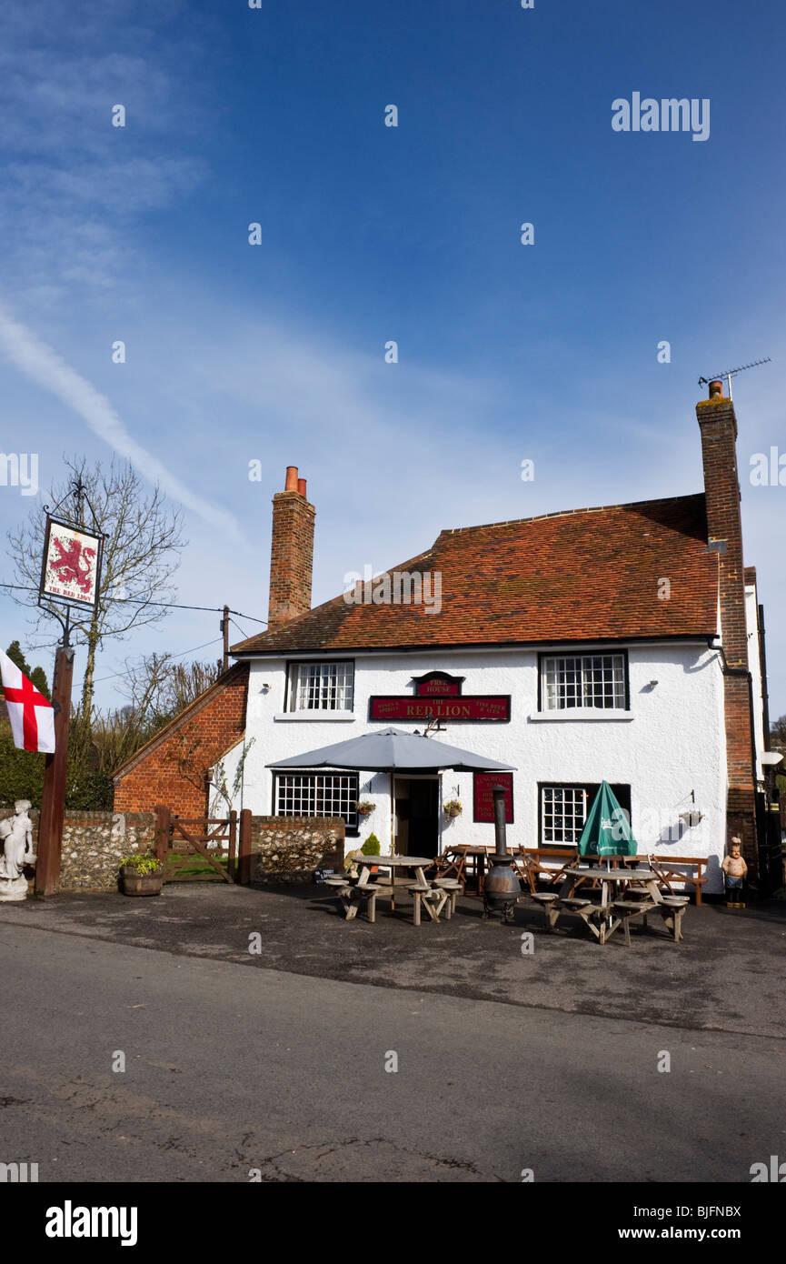 Red Lion roadside pub at Little Missenden village Buckinghamshire UK - Stock Image
