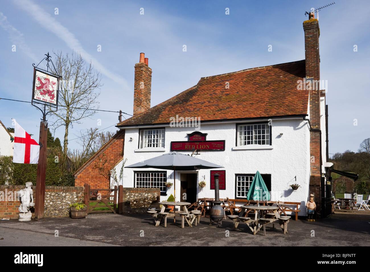 Red Lion public house at Little Missenden village Buckinghamshire UK - Stock Image