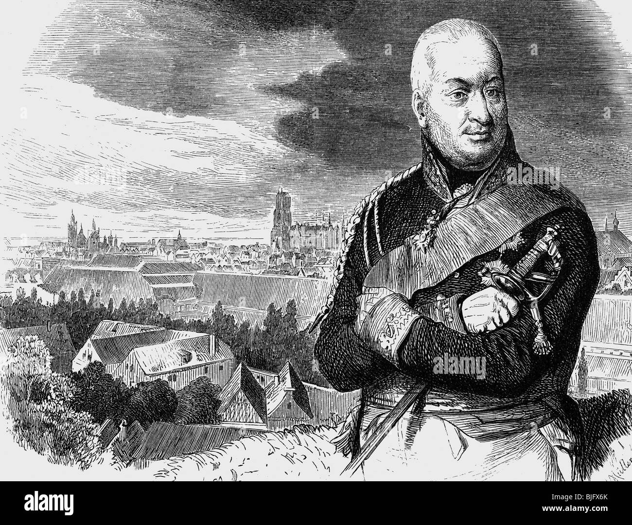 Kalckreuth, Friedrich Adolf von, 22.2.1737 - 10.6.1818, Prussian general, in Danzig, 1807, wood engraving, 19th - Stock Image