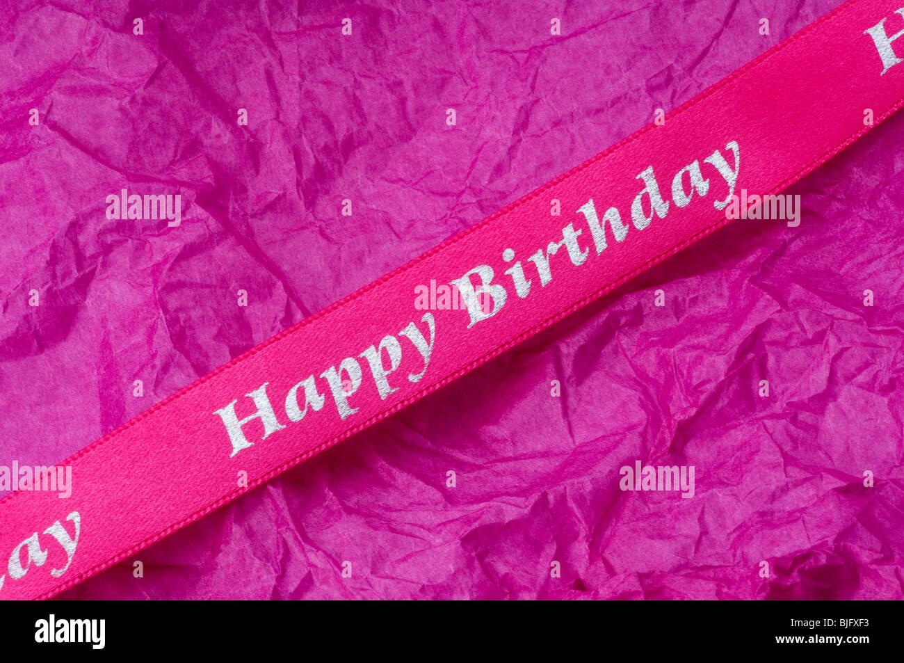 Birthday Ribbon - John Gollop - Stock Image