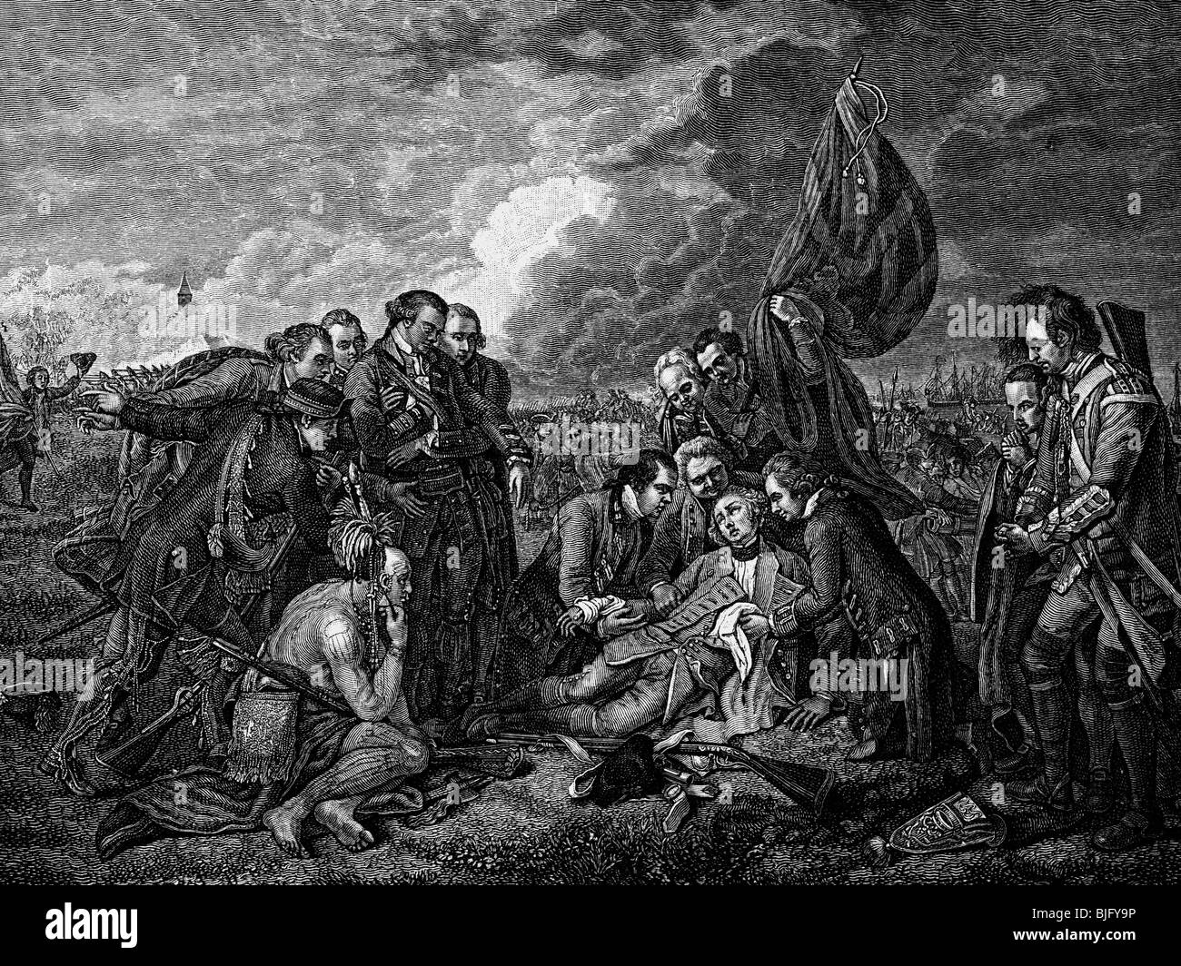 Wolfe, James, 2.1.1726 - 13.9.1759, British general, death in the Battle of the Plains of Saint Abraham, wood engraving, - Stock Image