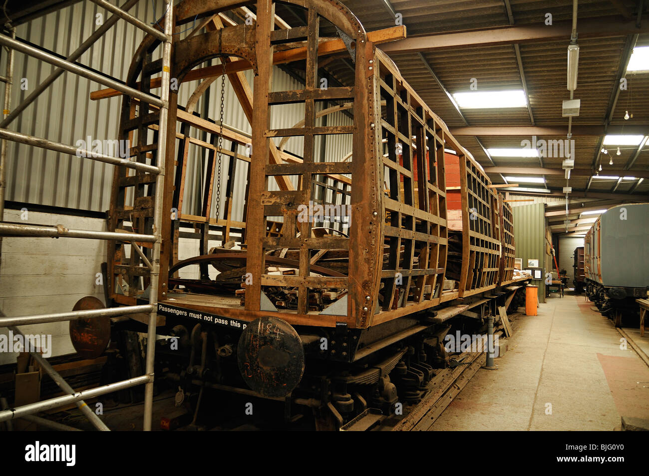 Didcot Railway Centre, Train Carriage Under Restoration by the Great Western Railway Society. - Stock Image