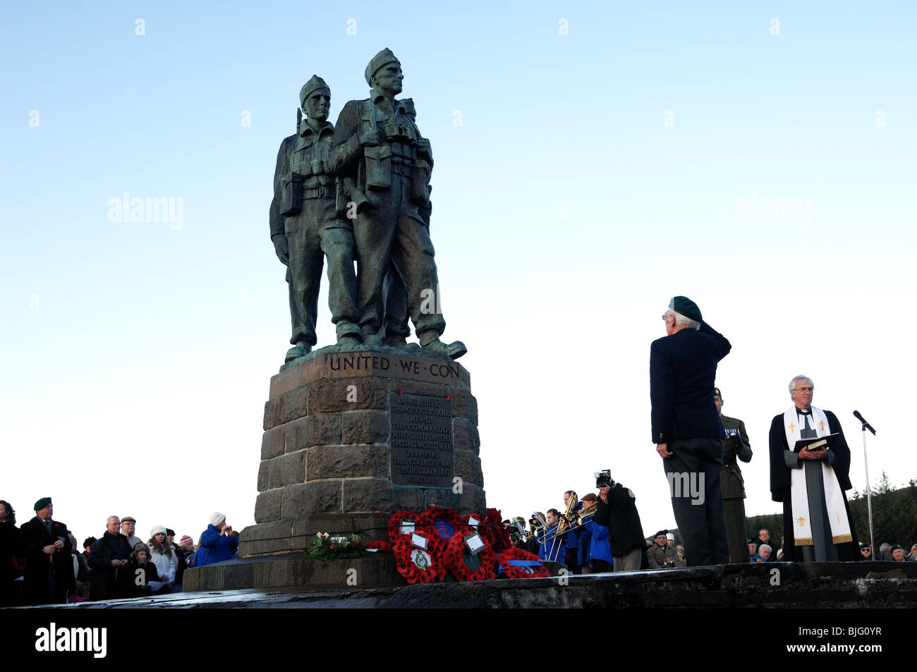 Annual remembrance day service held at the commando memorial spean bridge,highlands,Scotland - Stock Image