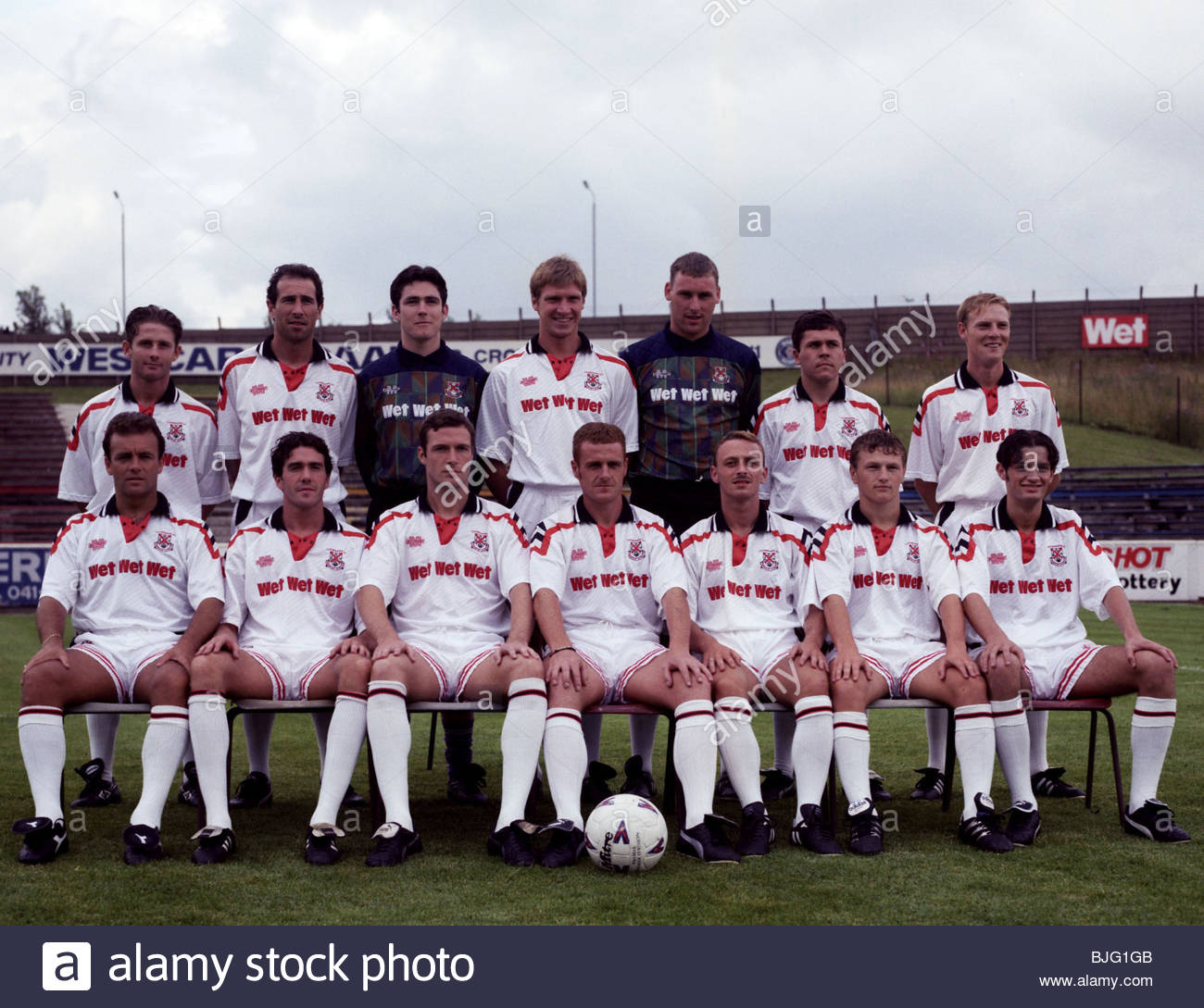 SEASON 1994/1995 CLYDEBANK Back row from left: Craig Flannigan, Colin Harris, Alan Monaghan, Tom Currie, Gary Mathews, - Stock Image