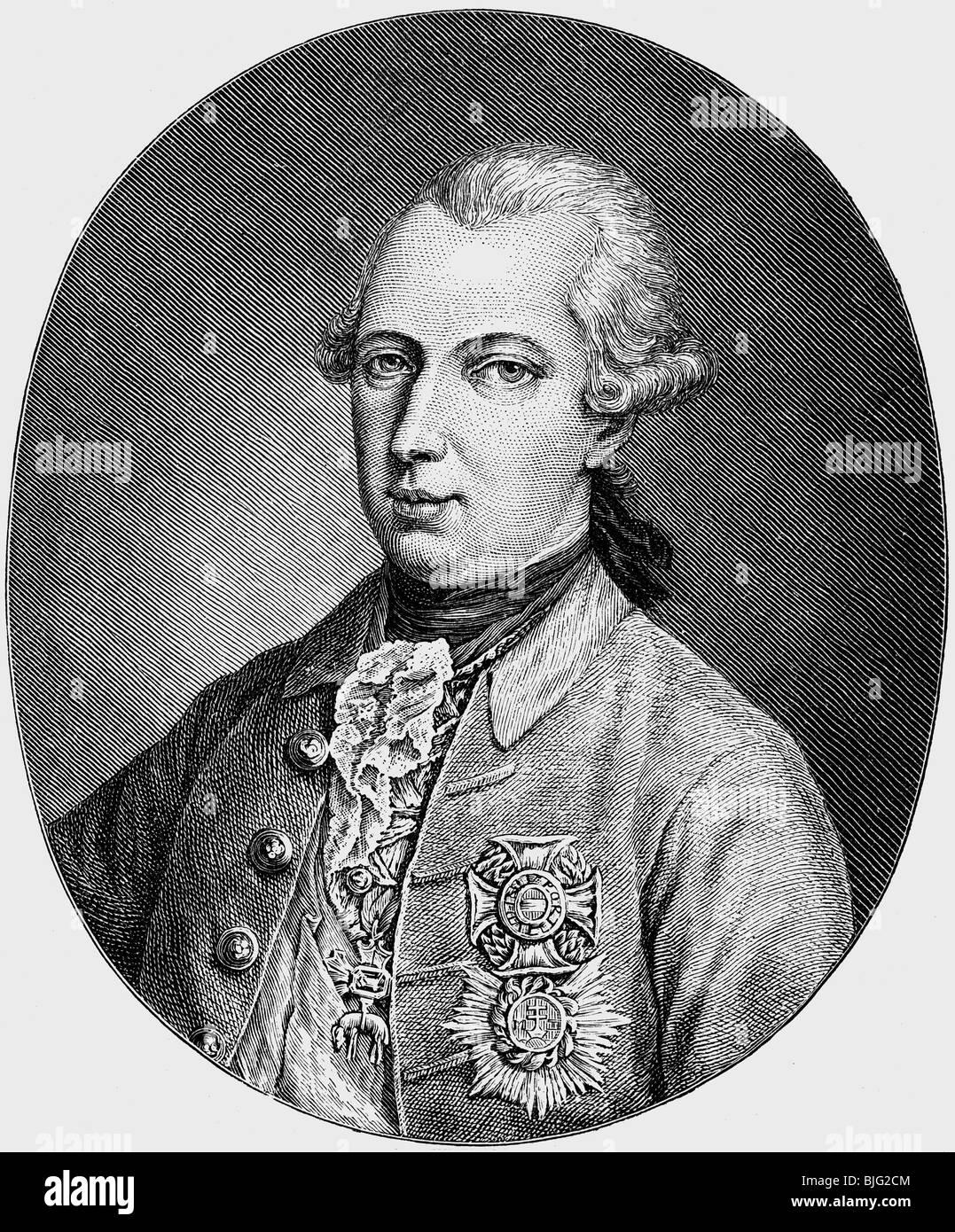 Joseph II, 13.3.1741 - 20.2.1790, Holy Roman Emperor 18.8.1765 - 20.2.1790, portrait, wood engraving, 19th century, Stock Photo