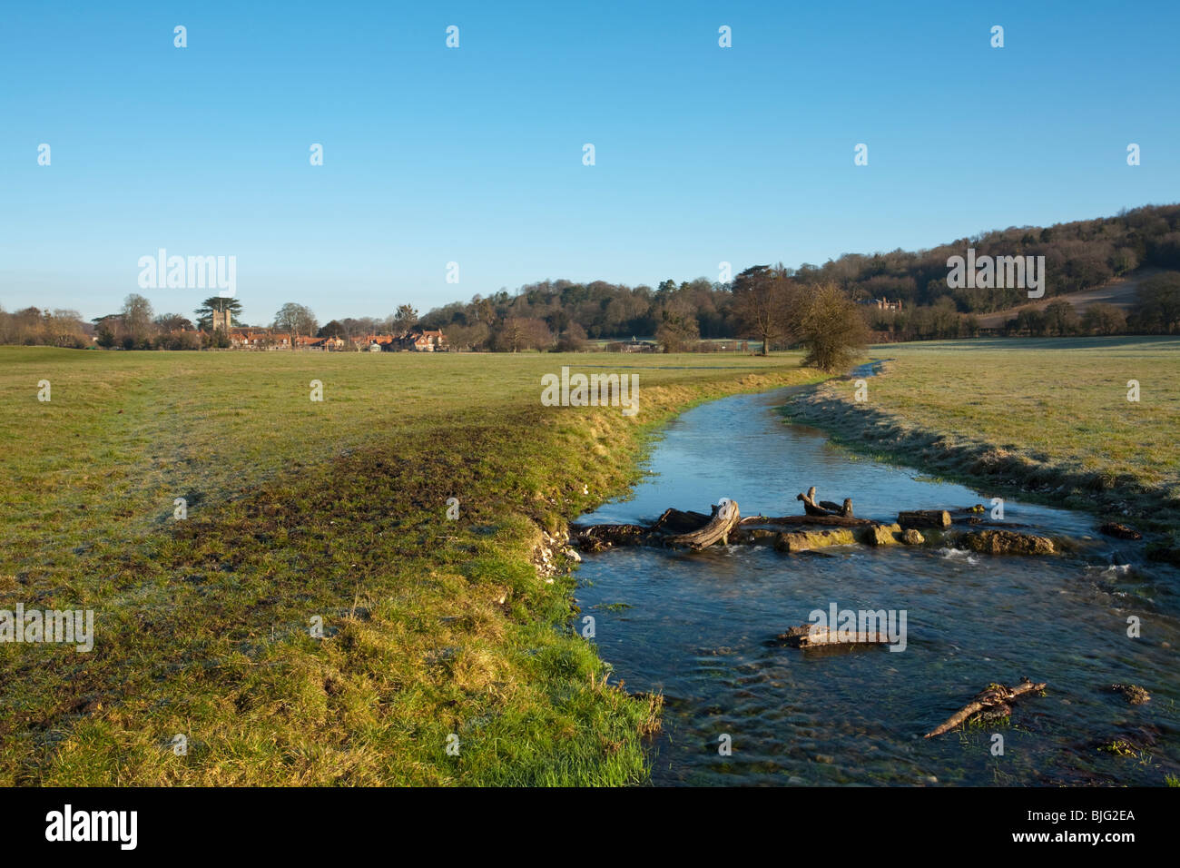 View across the water meadows in the Chilterns towards Hambleden Village, Buckinghamshire, Uk Stock Photo