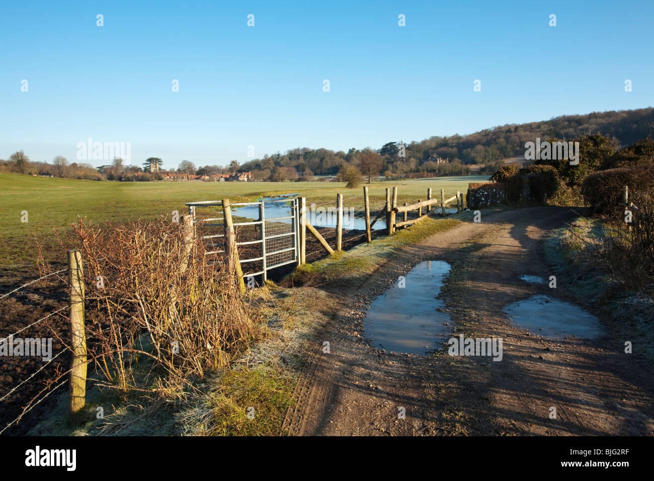 View across the water meadows in the Chilterns towards Hambleden Village, Buckinghamshire, Uk - Stock Image