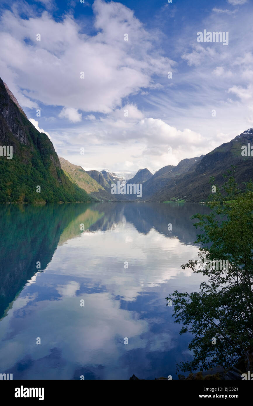 Lake Oldevatnet, Briksdal Glacier Valley, Olden, Stryn, Norway - Stock Image