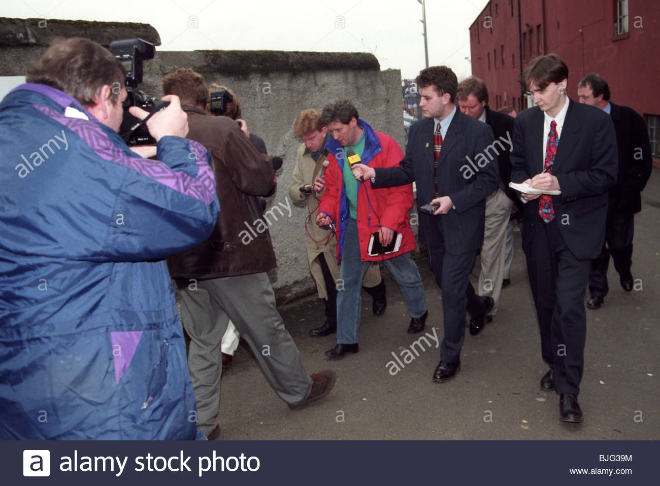 MARCH 1996 FALKIRK John Lambie (centre) causes a stir as he resings from his post as Falkirk manager - Stock Image