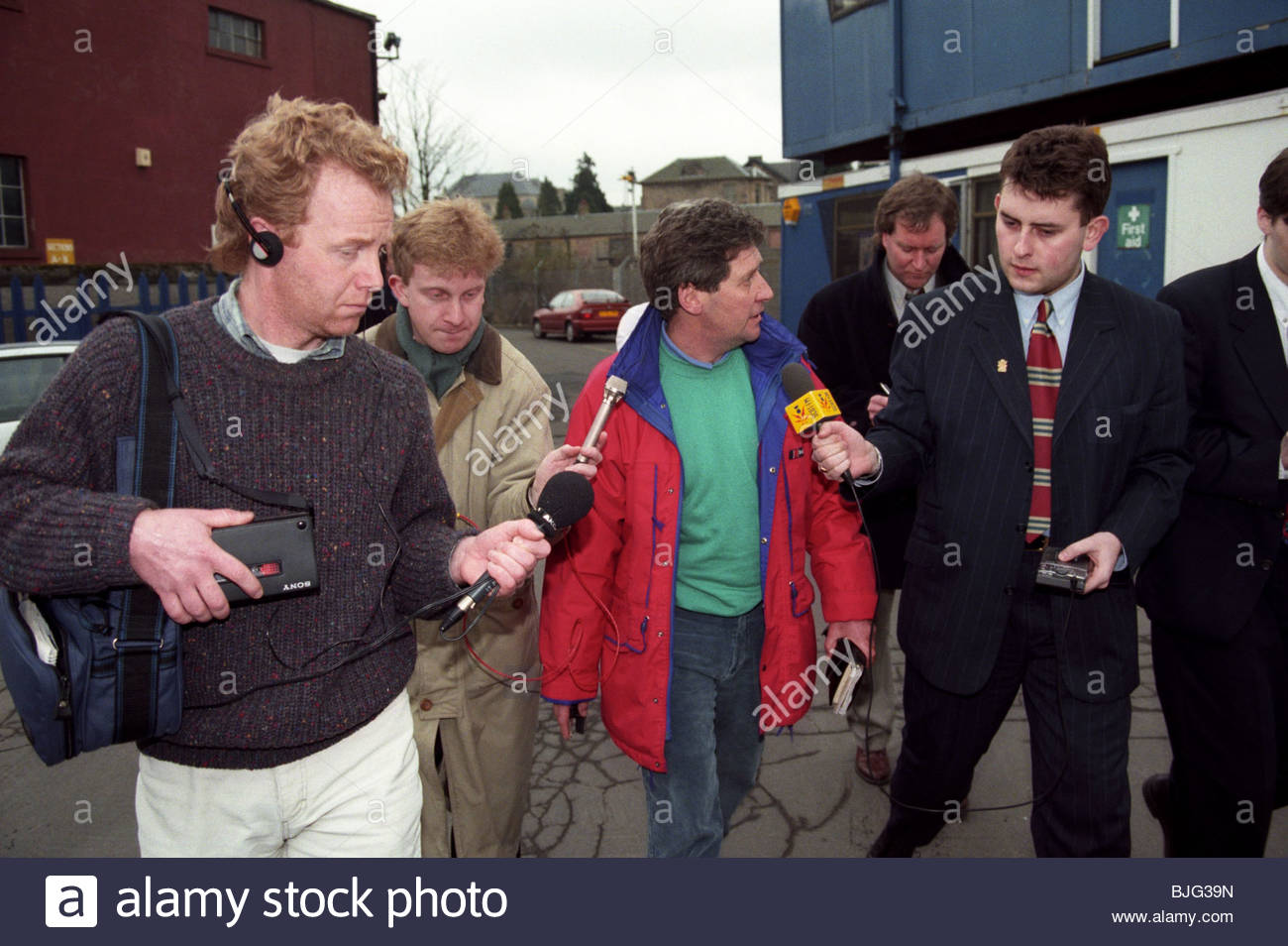 MARCH 1996 FALKIRK John Lambie (red jacket) resigns as Falkirk manager - Stock Image