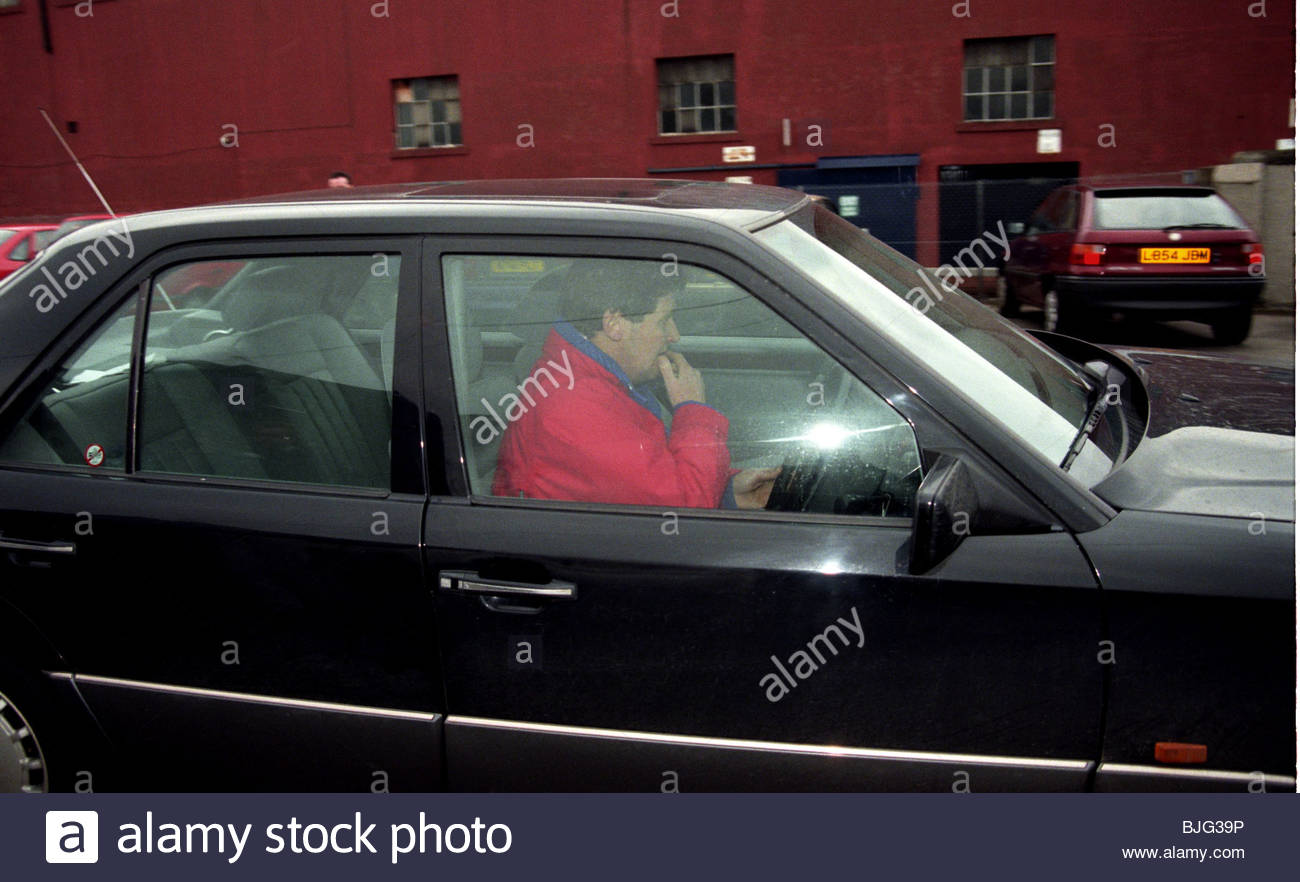 MARCH 1996 FALKIRK John Lambie speeds off as the outspoken manager resigns his post at Falkirk - Stock Image