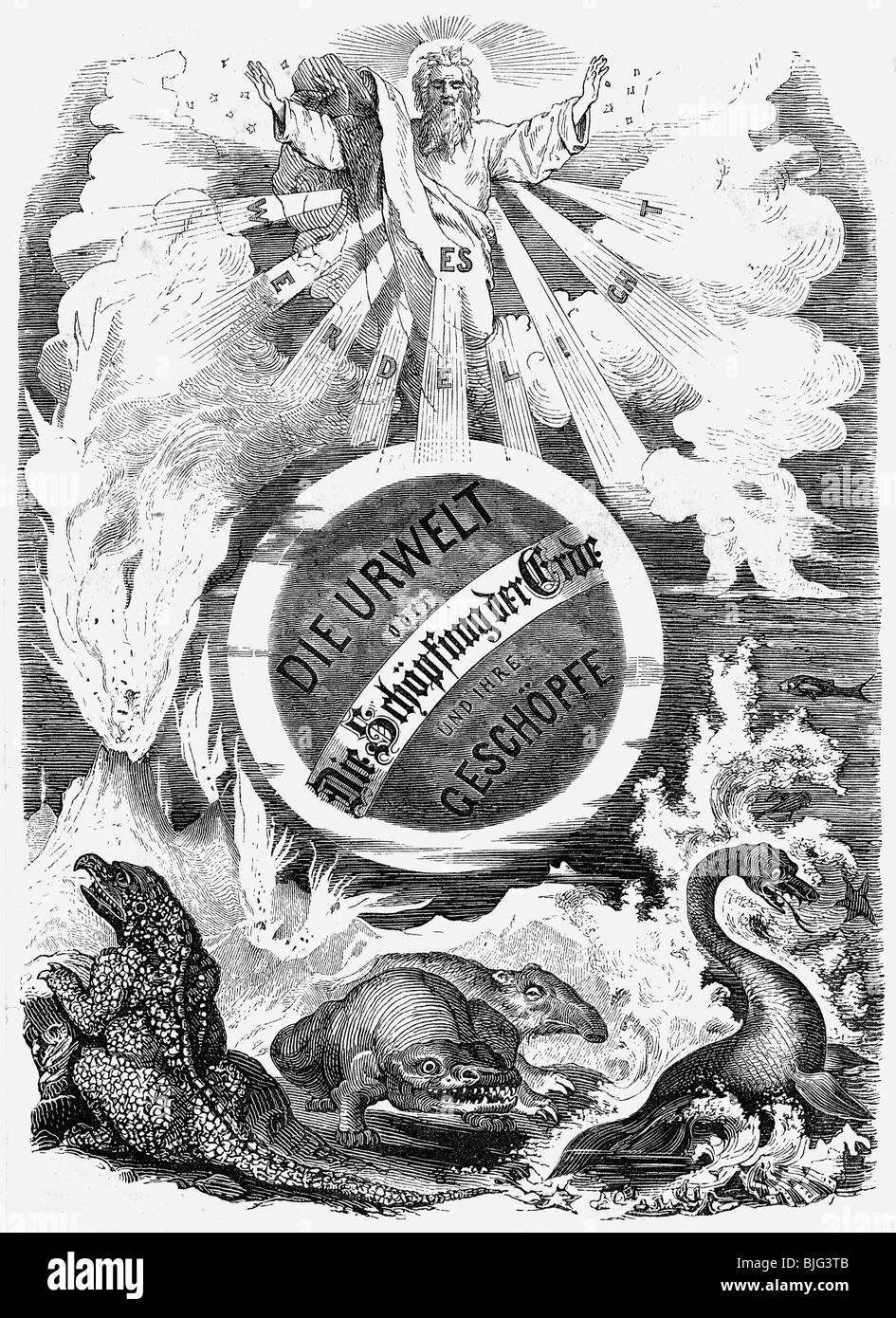 religion, biblical scenes, Creation myth, title page of the book 'Die Urwelt' by Eduard Hintze, Leipzig, - Stock Image