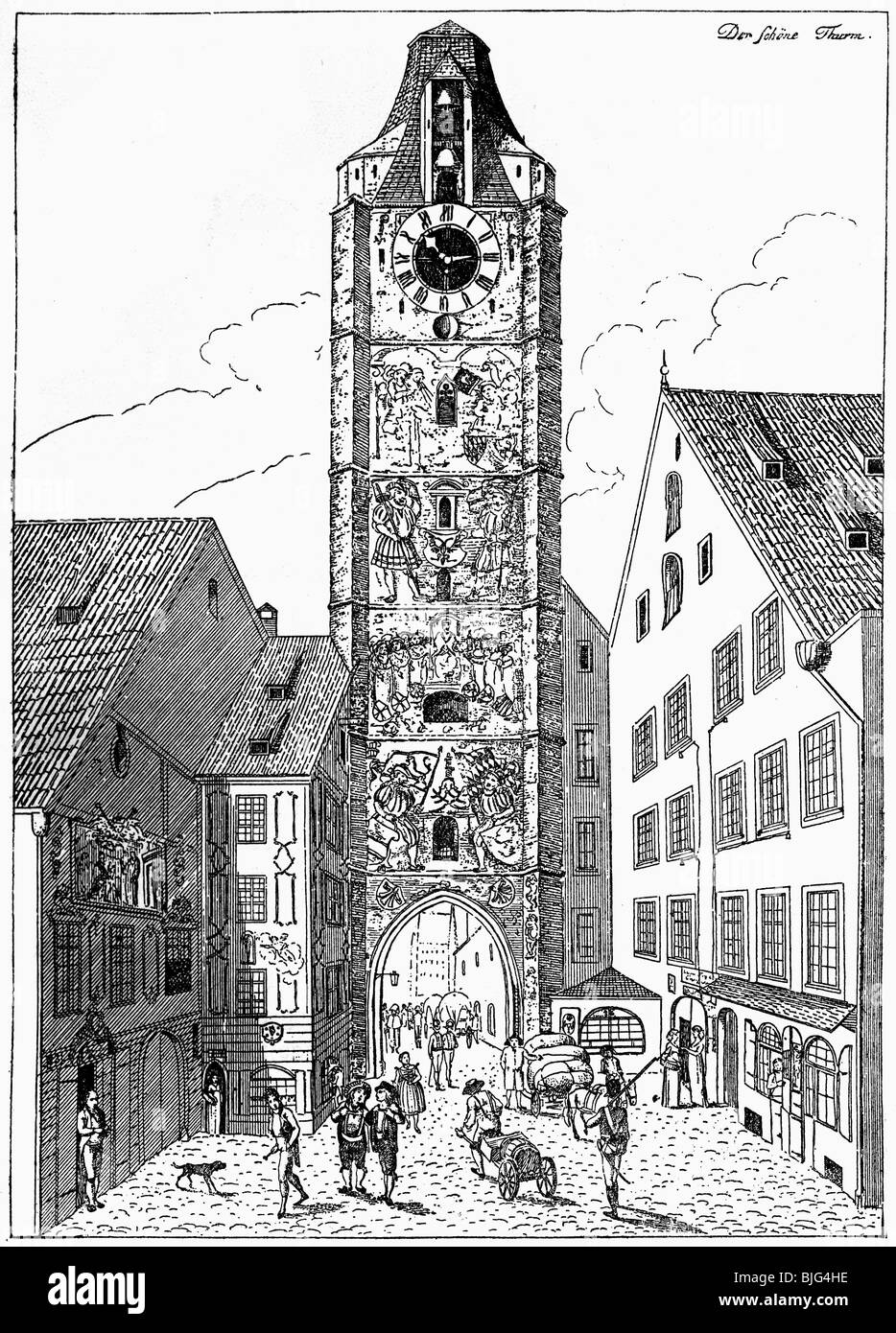 geography / travel, Germany, Munich, streets, city gates, Kaufinger Tor, demolished 1807, etching by Friedrich Bollinger, - Stock Image