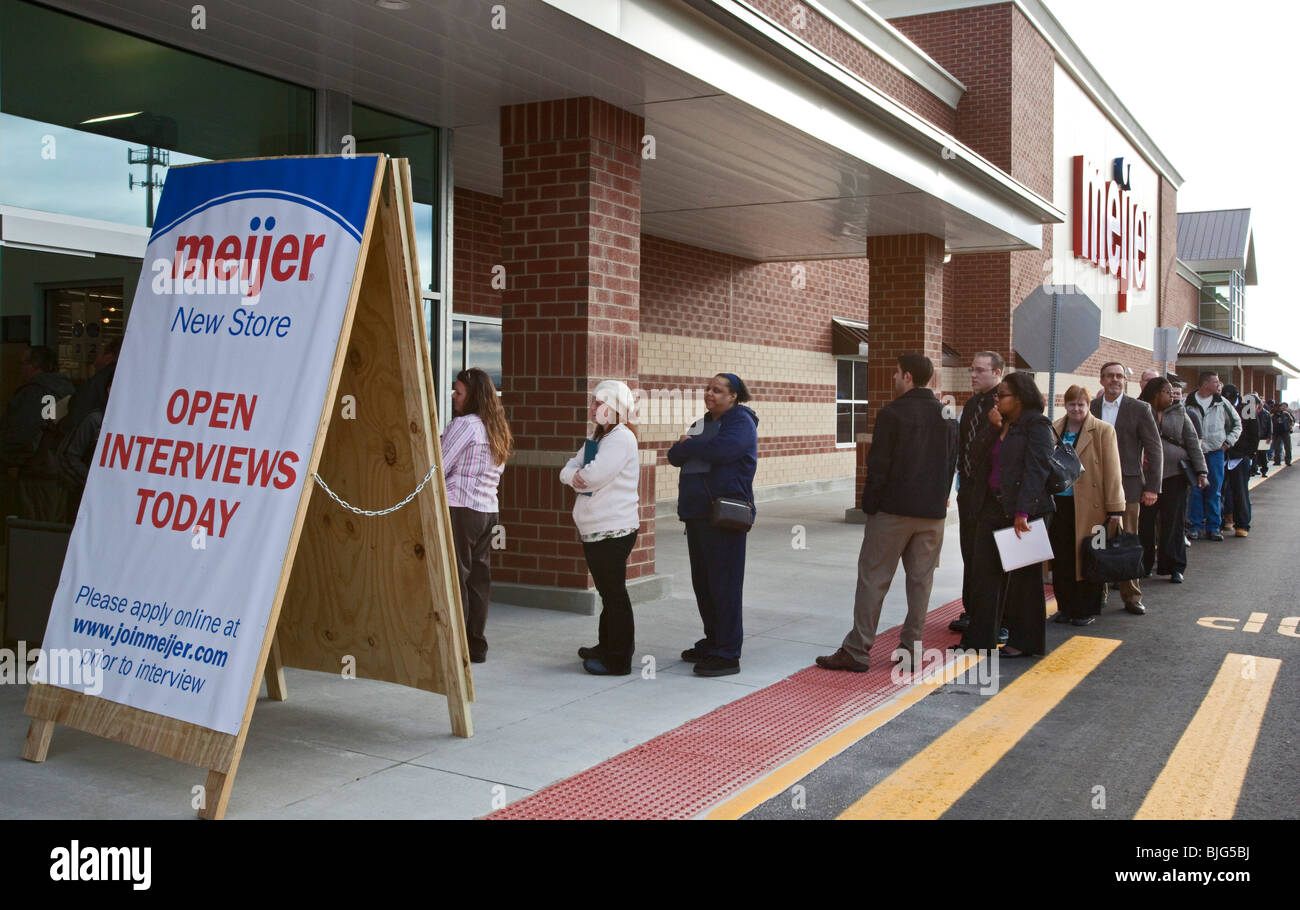 Unemployed People Line Up to Apply for Jobs - Stock Image