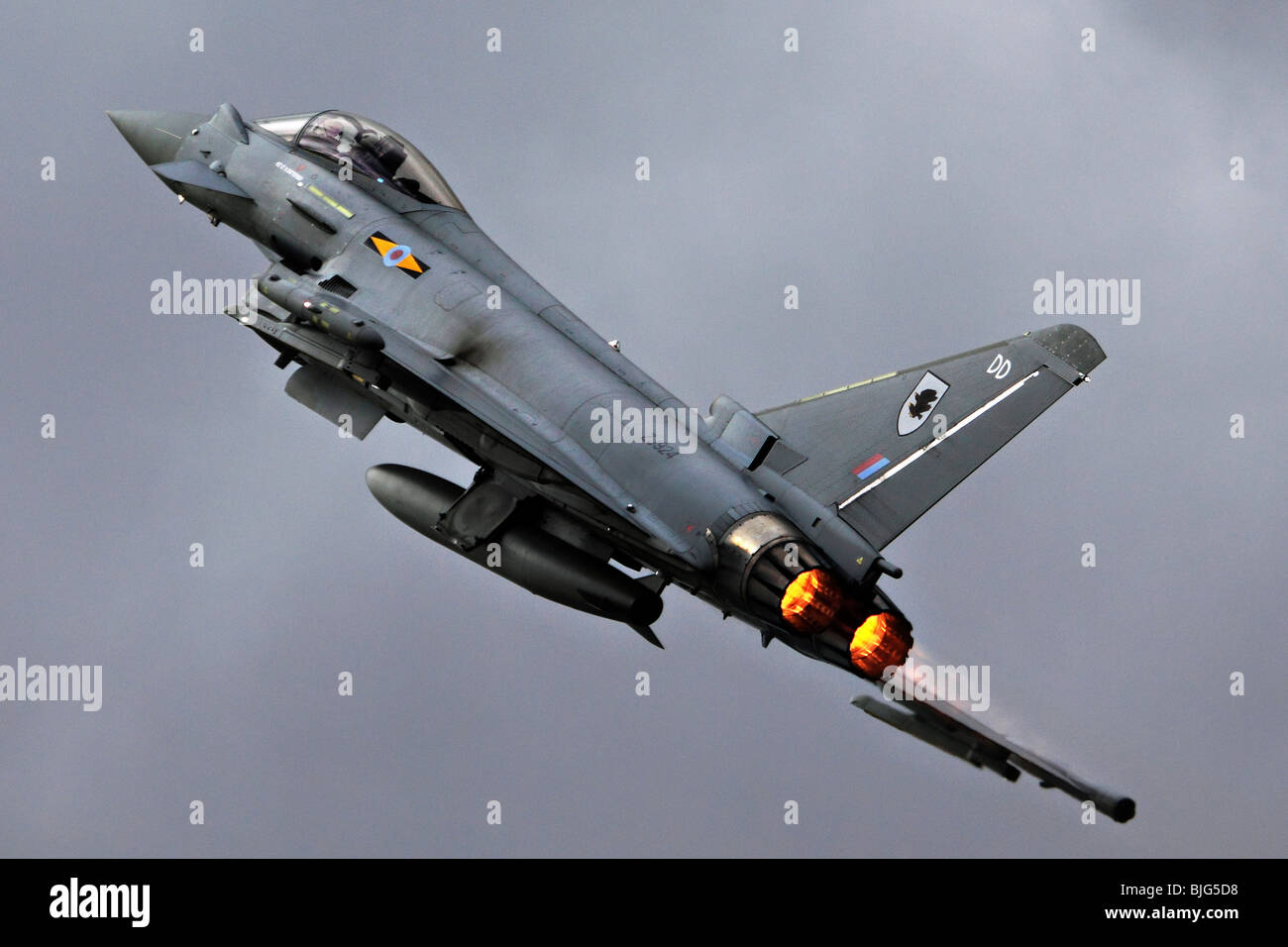 Eurofighter Typhoon is a twin-engine canard-delta wing multirole aircraft at the Royal International Air Tattoo - Stock Image
