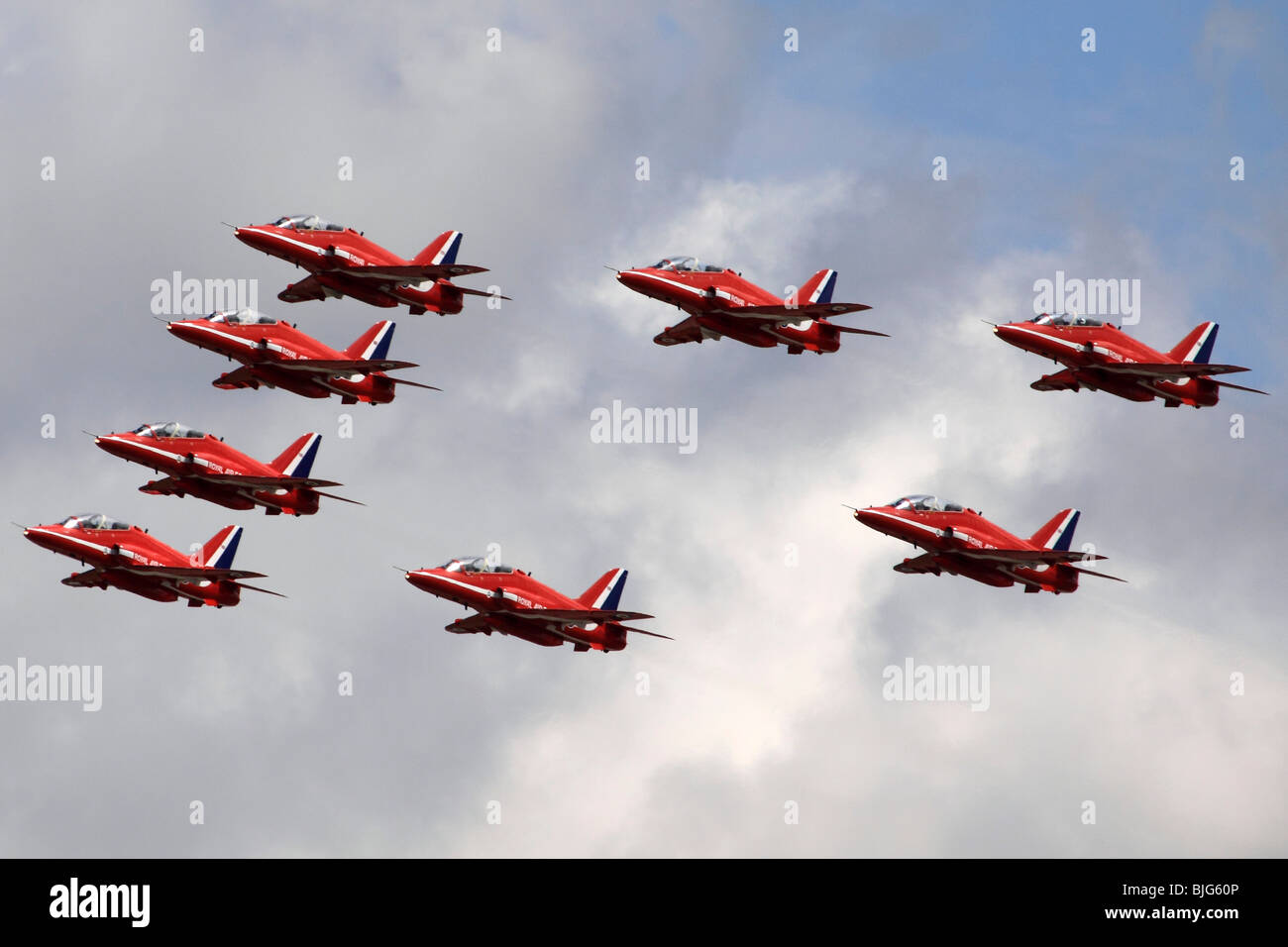 Royal Air Force Aerobatic Team Red Arrows at the Royal International Air Tattoo (RIAT) Air Show July 2009 - Stock Image
