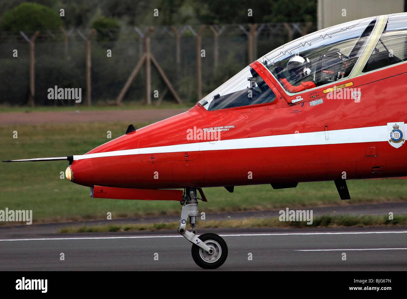 Royal Air Force Aerobatic Team Red Arrows at the Royal International Air Tattoo (RIAT) Air Show July 2009 - Stock Image