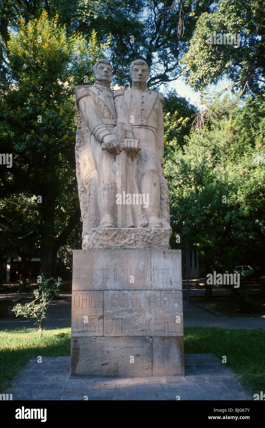 Monument to the generals Bernardo O'Higgins and José Francisco de San Martín in Plaza Chile, Mendoza, - Stock Image