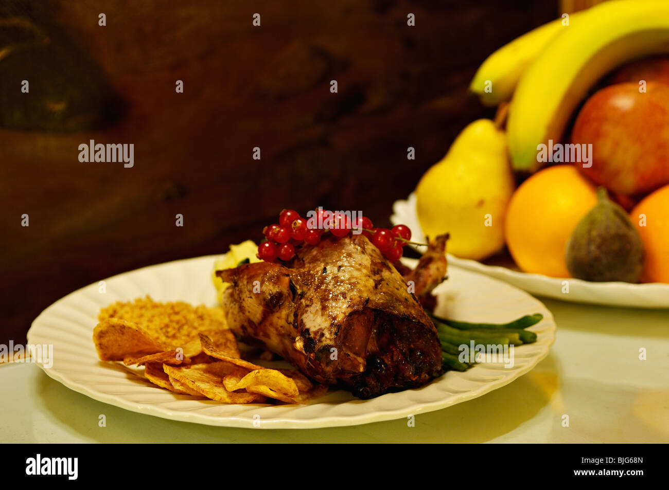 Meal of Red Grouse - Stock Image