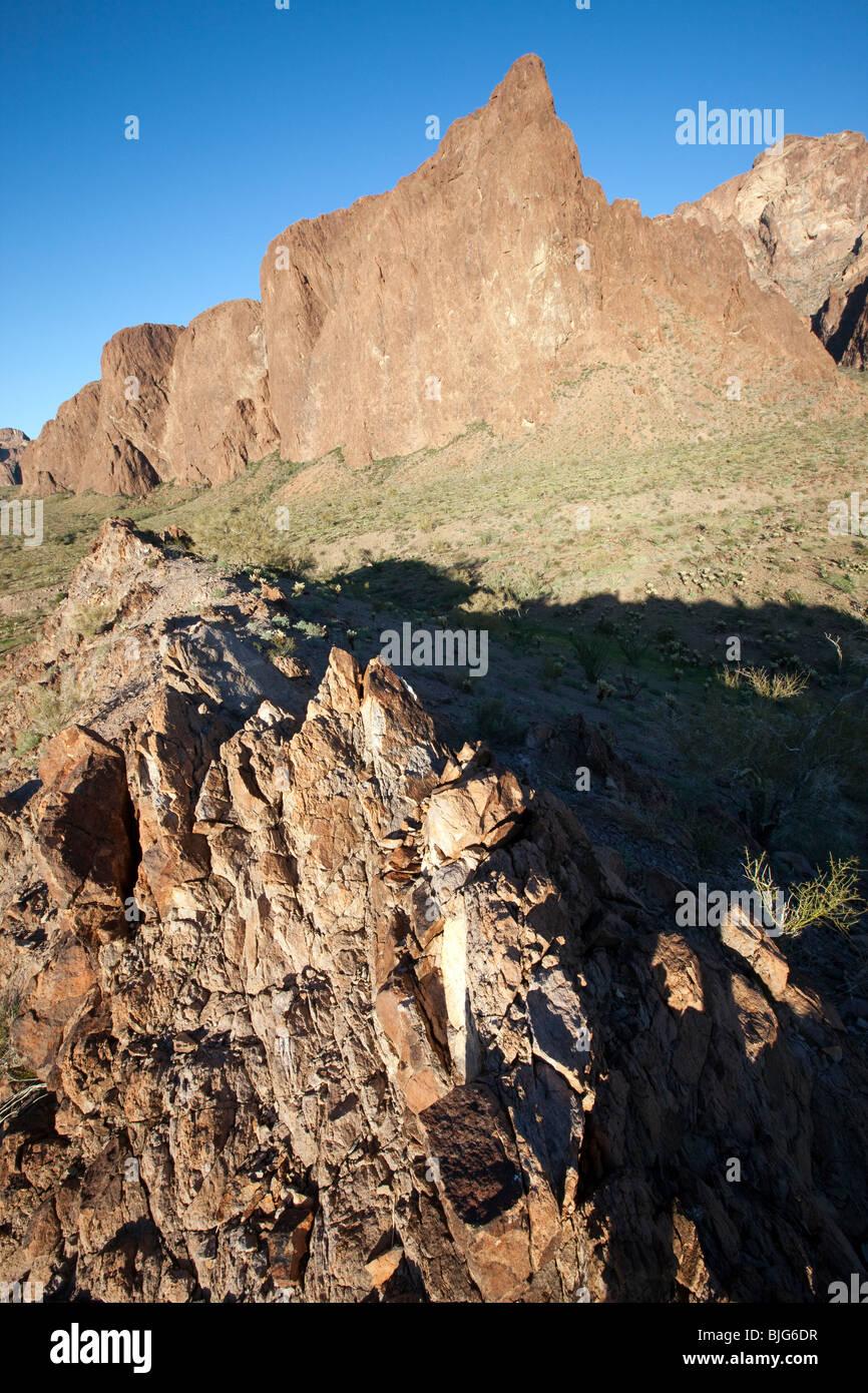 Rugged terrain of the KOFA Mountains, Kofa Wildlife Refuge, Arizona - Stock Image