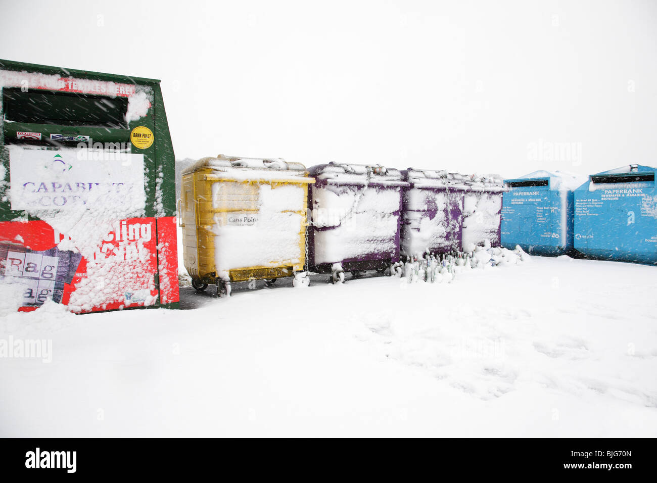 Recycling bins in winter, Scotland UK Stock Photo