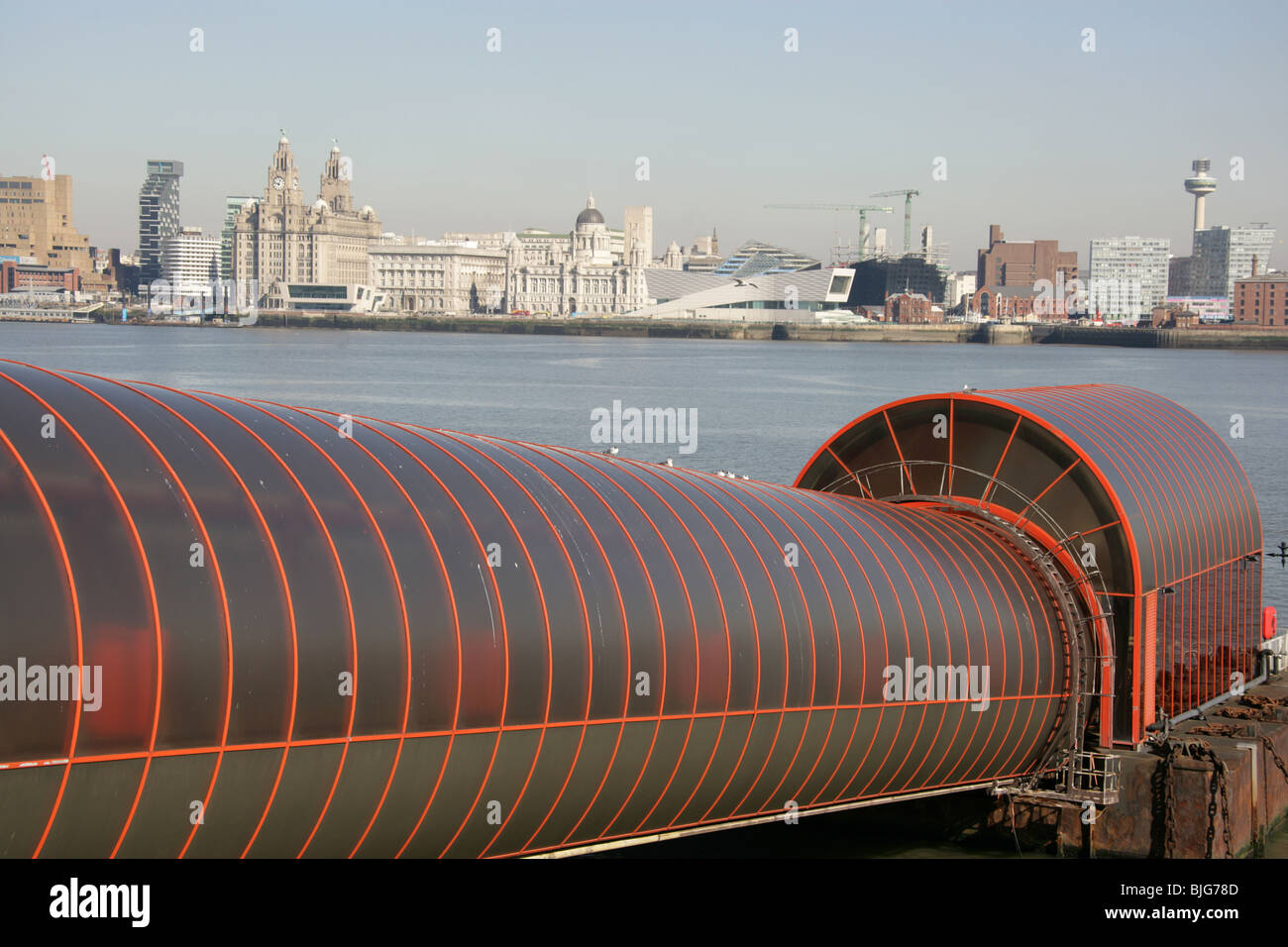 Town of Birkenhead, England. Mersey Ferry landing stage and passenger tunnel at Birkenhead's Woodside Ferry Terminal. - Stock Image