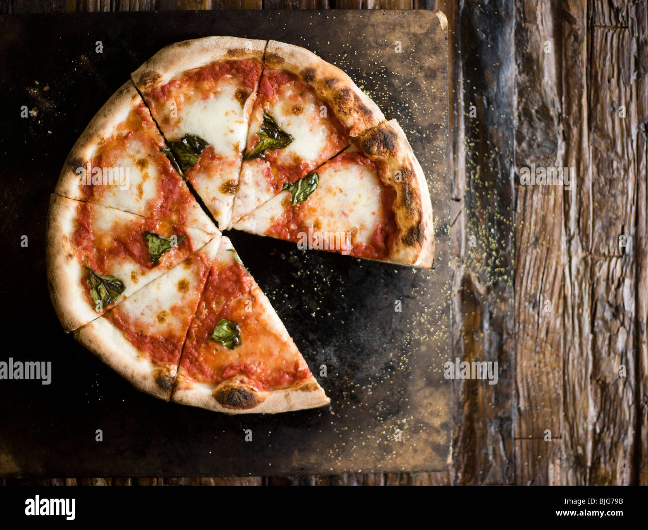 wood-fired cheese pizza - Stock Image