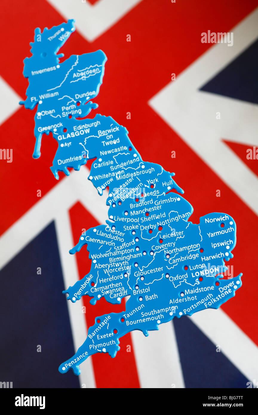 Union jack uk map stock photos union jack uk map stock images alamy plastic stencil of the uk set against the union jack flag stock image gumiabroncs Images