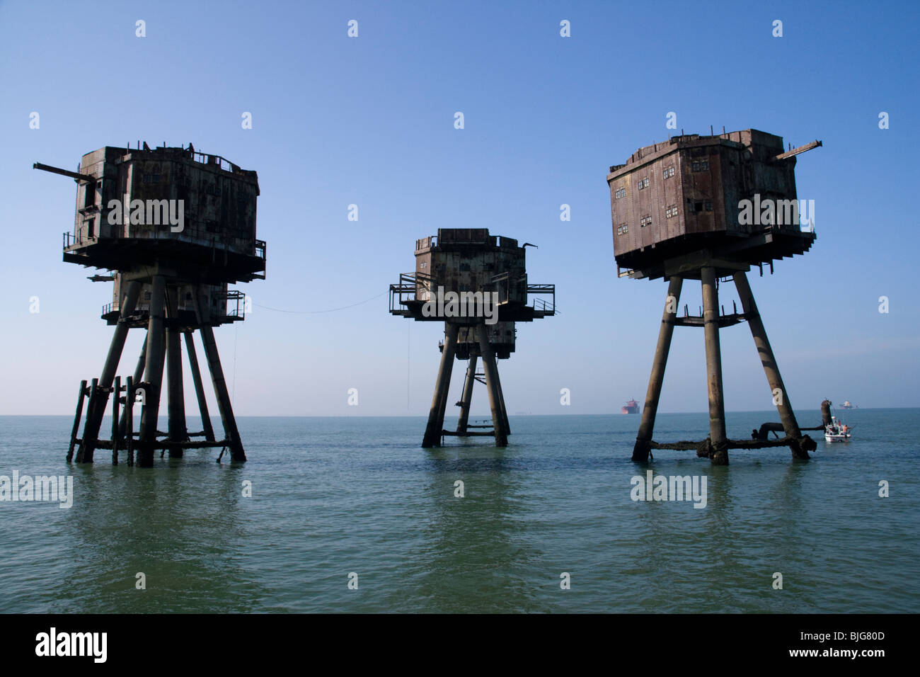 Thames Estuary Maunsell  Red Sands Forts - Stock Image