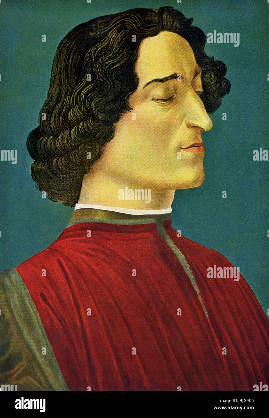 This portrait of Giuliano de Medici was done by Sandro Botticelli (c. 1444-1510), Florentine artist of the Renaissance. - Stock Image