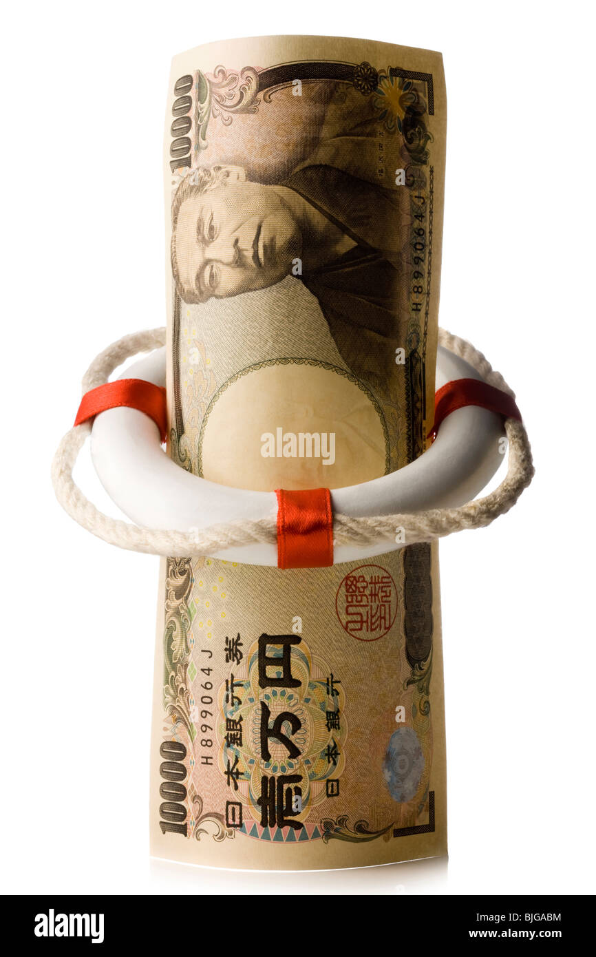 japanese yen in a life preserver - Stock Image