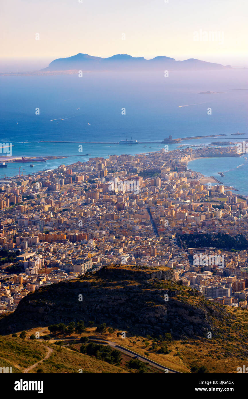 View of Trapani from Érice, Erice, Sicily stock photos. - Stock Image