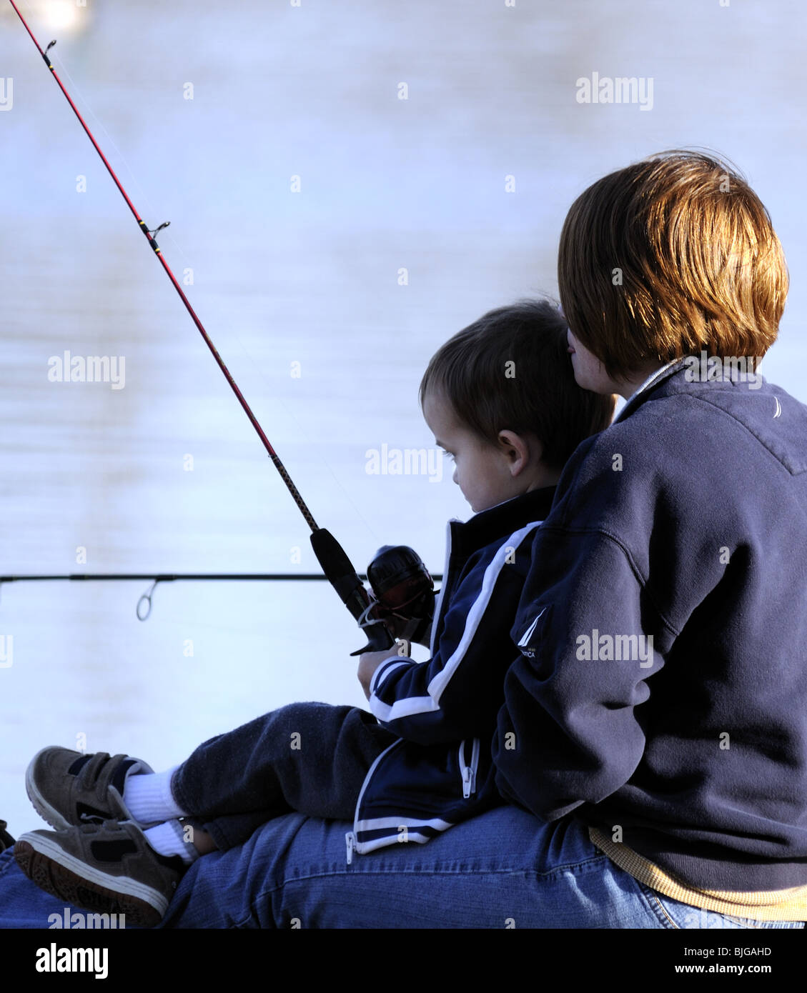 Mom & Son Fishing - Stock Image