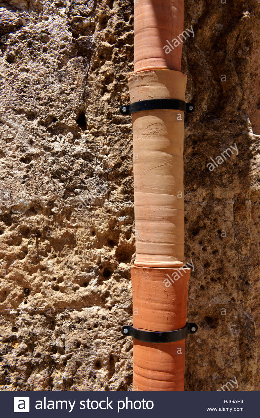 Pottery drain pipes Érice, Erice, Sicily stock photos. - Stock Image