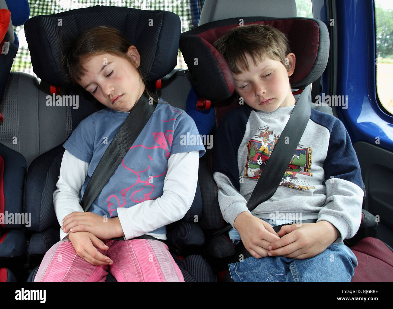 Children Sleeping In Their Child Seats A Car Werl Germany