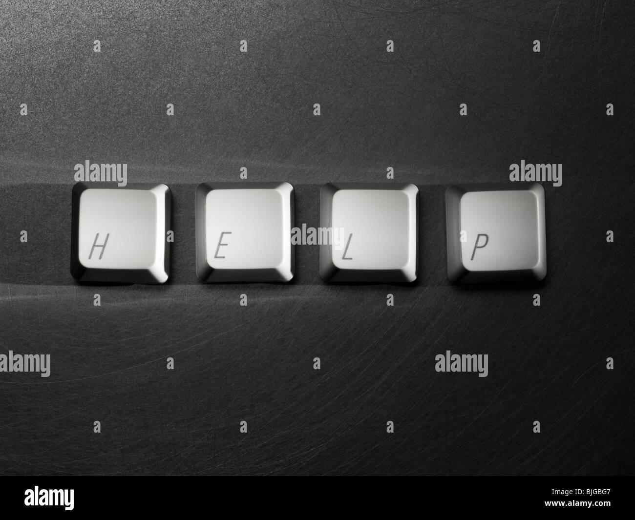 help written on computer keyboard keys - Stock Image