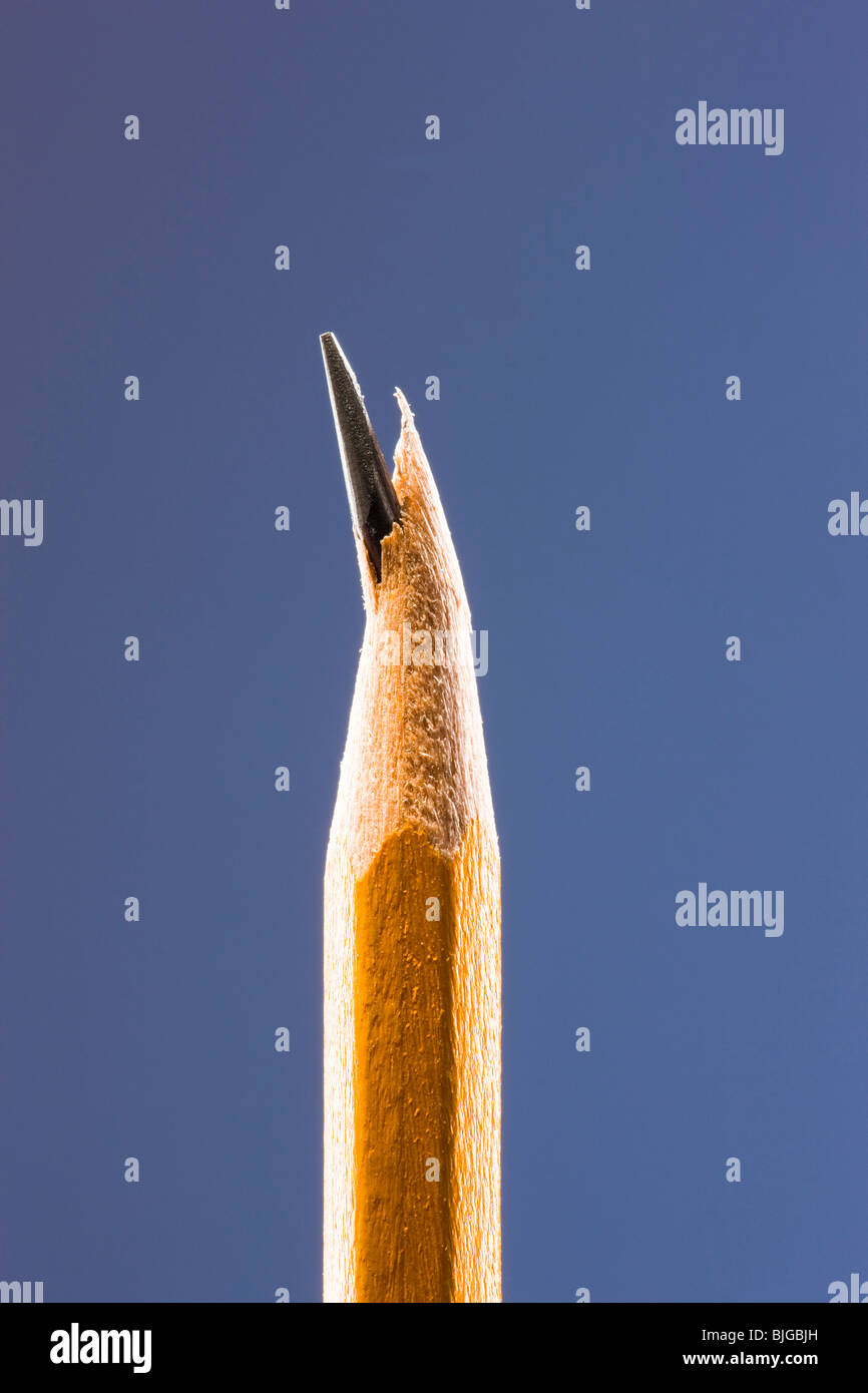pencil with a broken lead tip - Stock Image