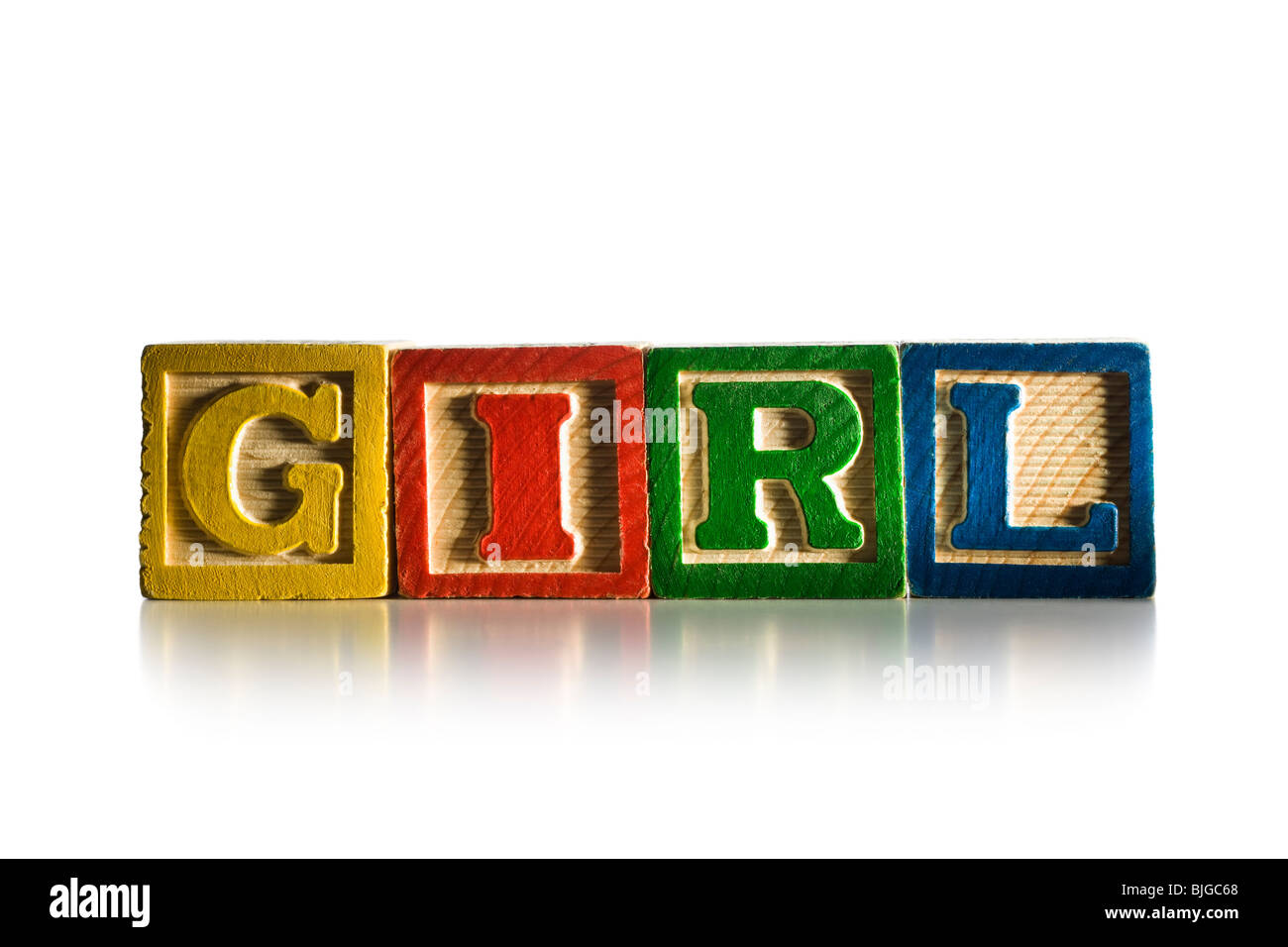 nursery blocks spelling 'girl' - Stock Image